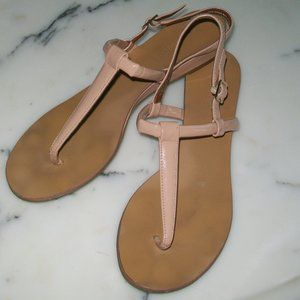 Boutique 9 Small Wedge Thong Sandal 9 1/2 Nude